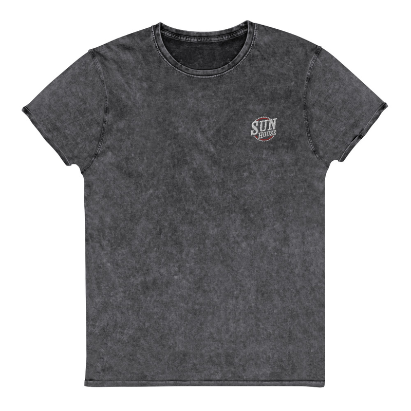 Embroidered Sun House Logo Denim Style T-Shirt