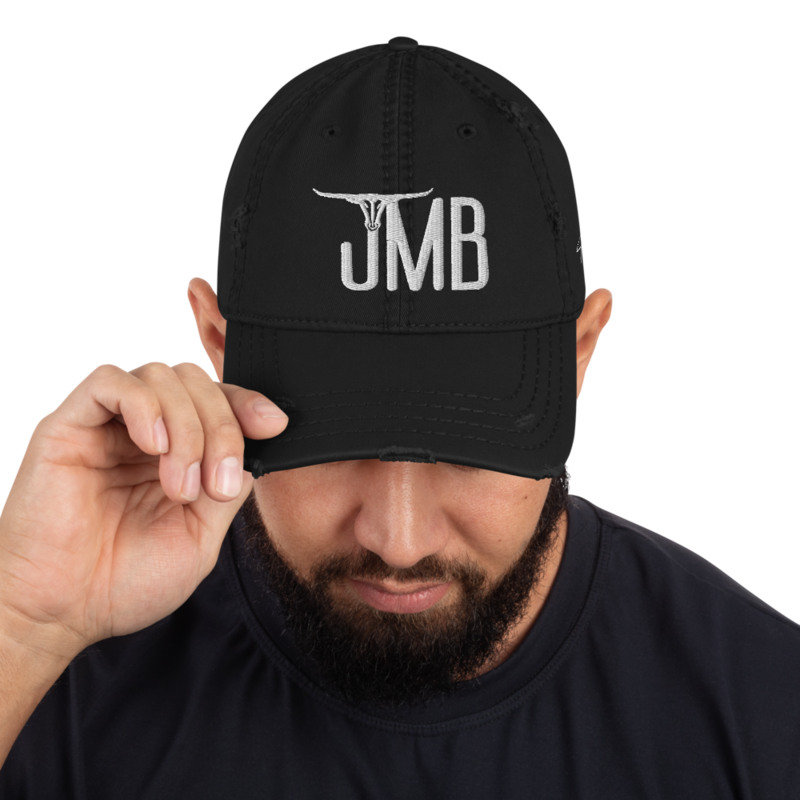 JMB Longhorn Distressed Hat - Center Logo / Left Side Signature