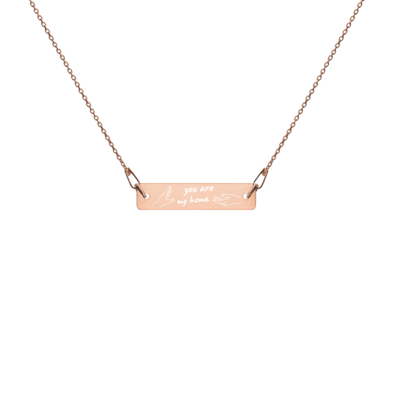 """""""Home"""" Lyric Engraved Chain Necklace"""