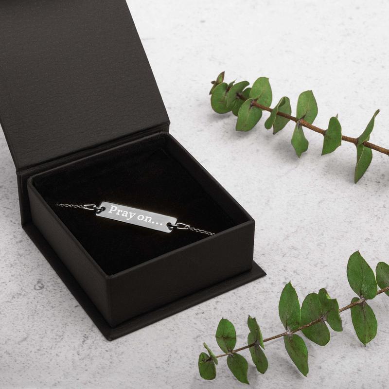 Engraved Silver Bar Chain Bracelet - Pray on...