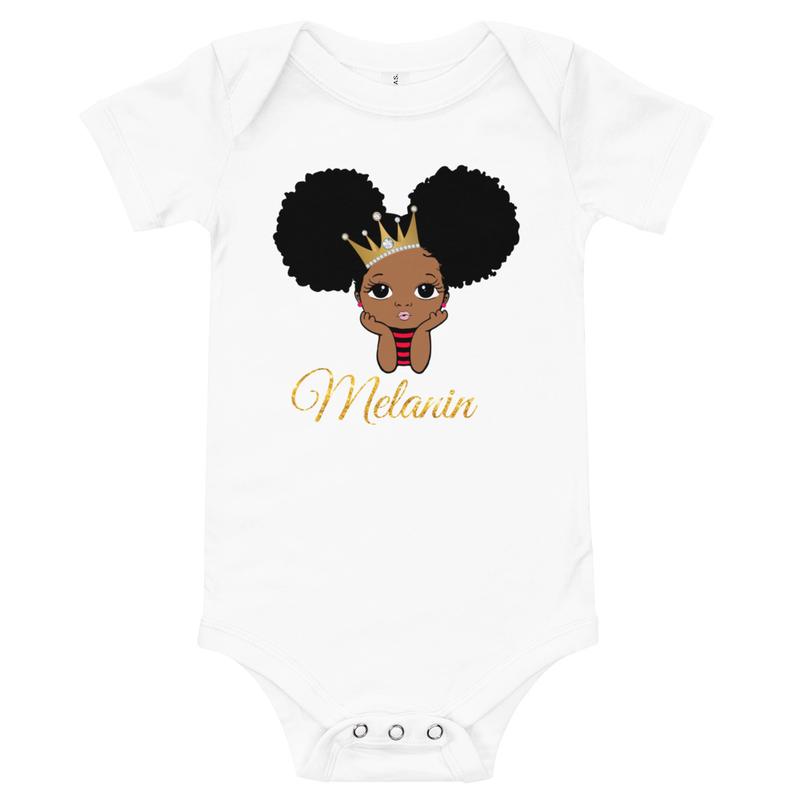 Princess Melanin Baby short sleeve one piece