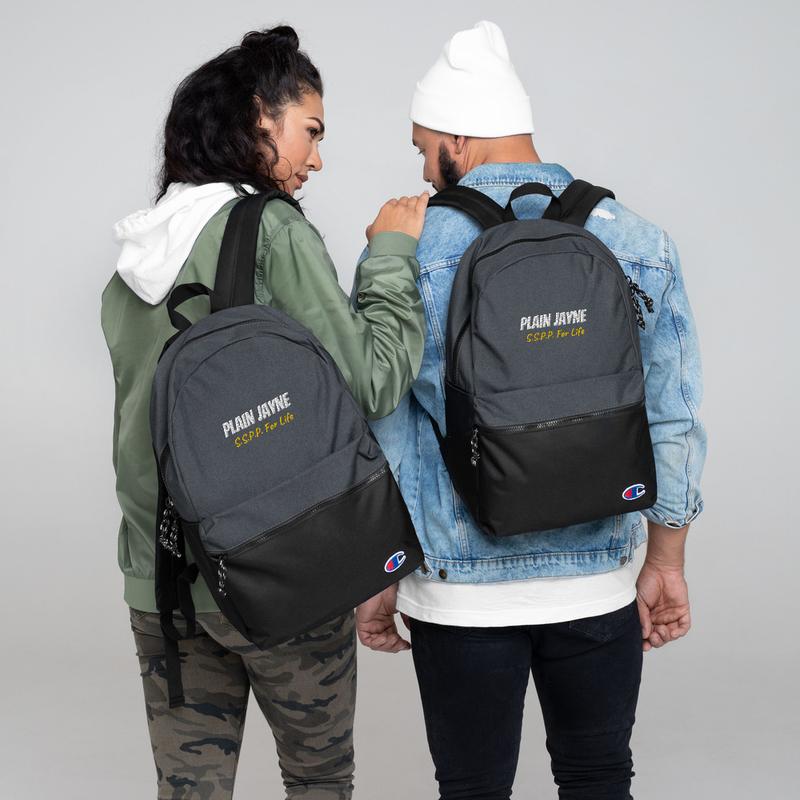Plain Jayne Embroidered Champion Backpack