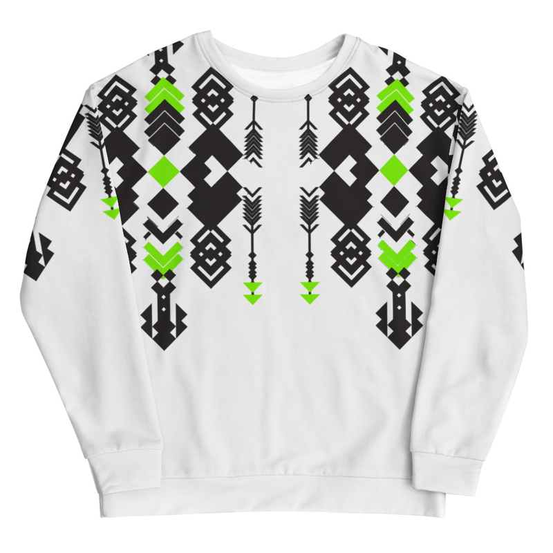 Roots Are Patterns Sweatshirt - Neon Green and Black