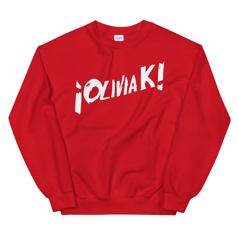 "¡Olivia K! & The Parkers – ""¡Olivia K!"" Band Sweatshirt Red"