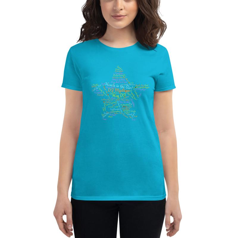 """DJ MYSTIQUE """"DJ Word Cloud"""" Women's short sleeve t-shirt"""