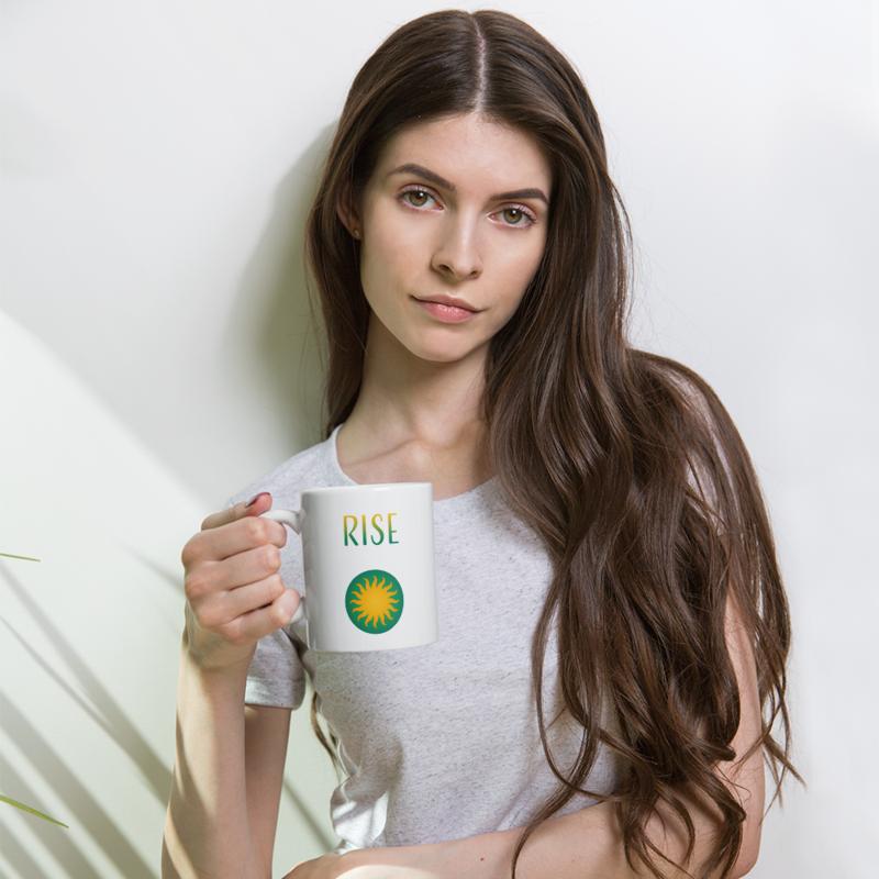 """Sun Logo + """"Rise"""" + """"Shine"""" Text - Double-sided - White Mug"""