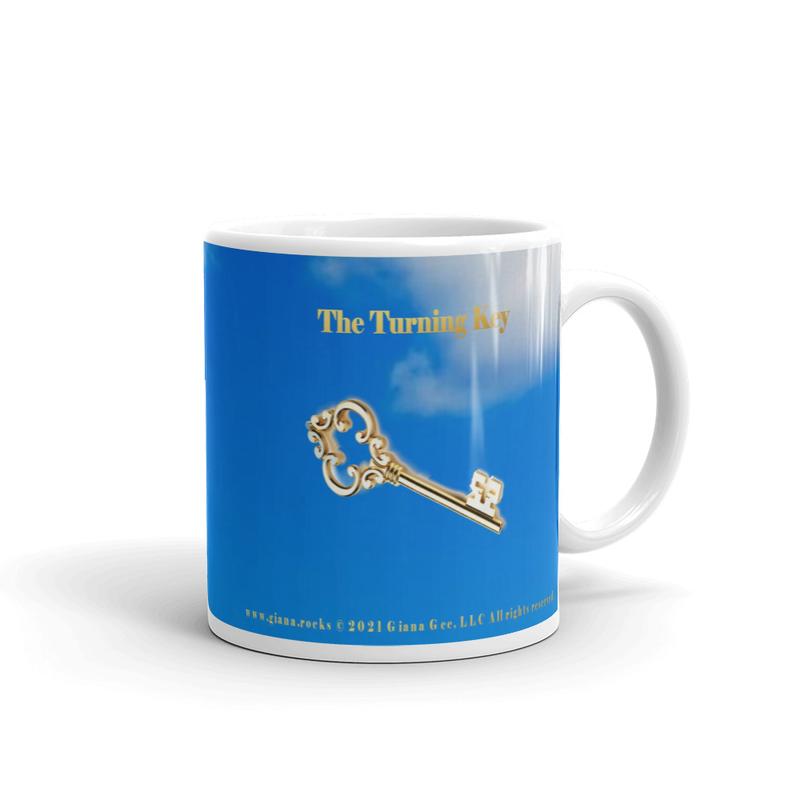The Turning Key with Lyrics Blue Glossy Mug