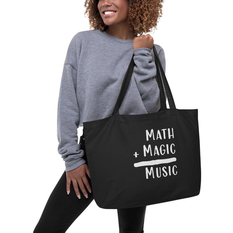 Math + Magic = Music Large organic tote bag