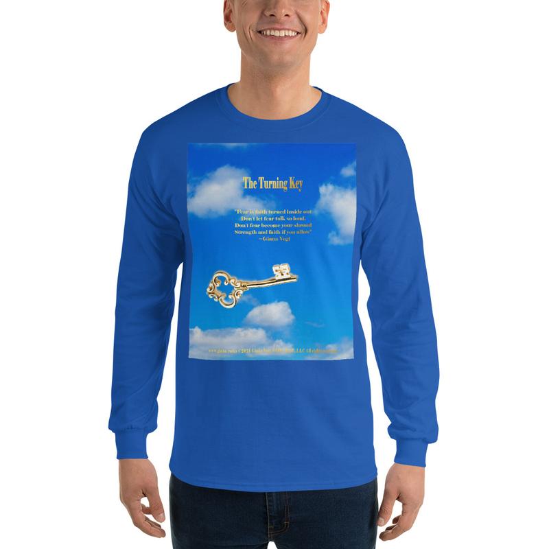 The Turning Key Gold on Blue Unisex Long Sleeve Shirt