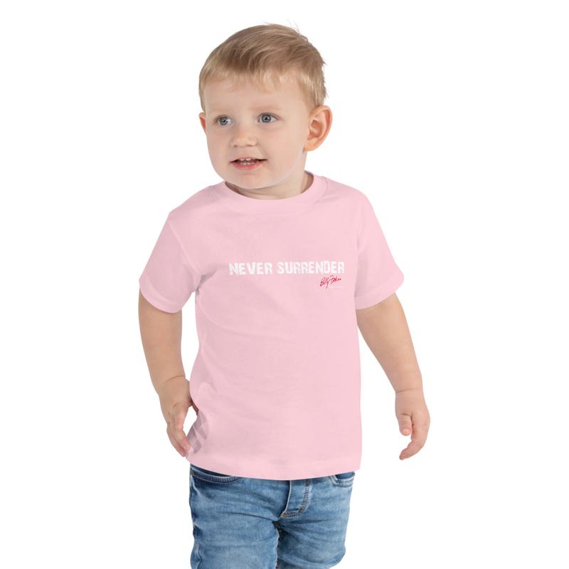 """""""Never Surrender"""" Toddler Short Sleeve Tee (boys & girls)"""