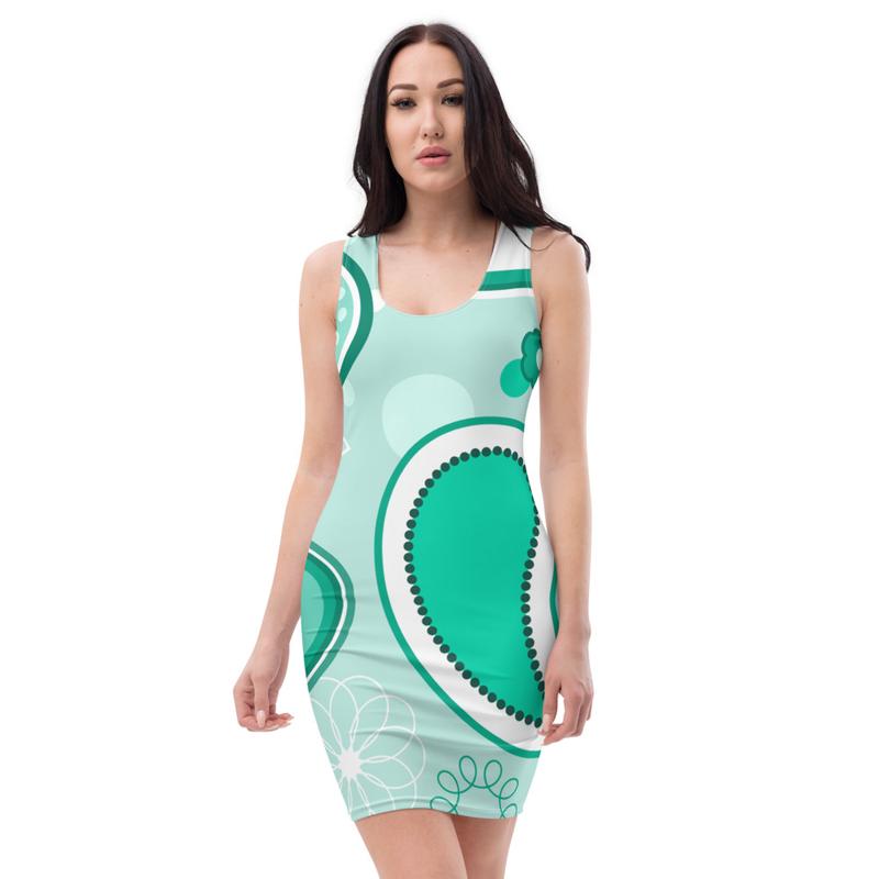 AHoney Paisely Teal Sublimation Cut & Sew Dress