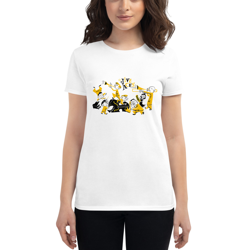 Jive Aces Women's White Toon T-Shirt