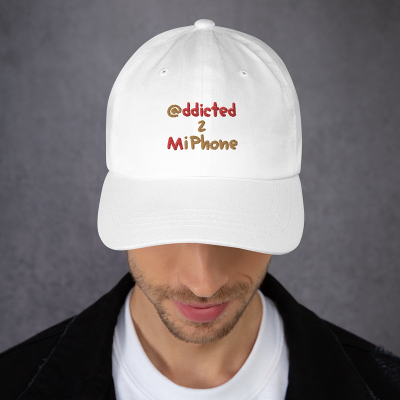 """""""@ddicted 2 Mi Phone"""" - Gold + Red Text - Curved Visor Hat + Adjustable Buckle Strap"""