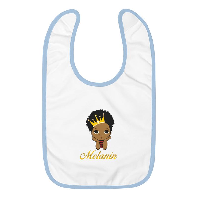 Prince Melanin Embroidered Baby Bib