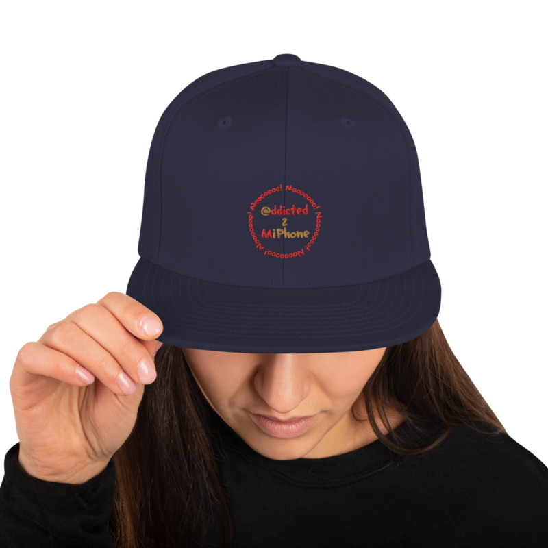 """""""@ddicted 2 Mi Phone"""" - Gold + Red Text + Red Nooo! Ring - Adjustable Snapback Hat"""