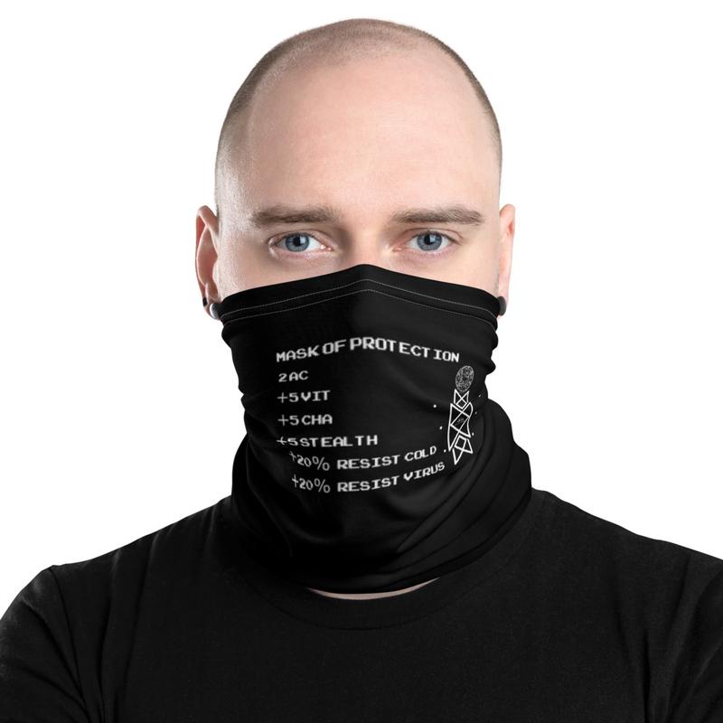 D&D Inspired Neck Orion Logo D&D Black Mask of Protection Face Mask, Neck Gaiter, Headband copy