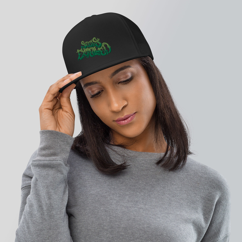 'Garden of Eden' Green Flat Bill Hat - Mesh Back, Snap Back