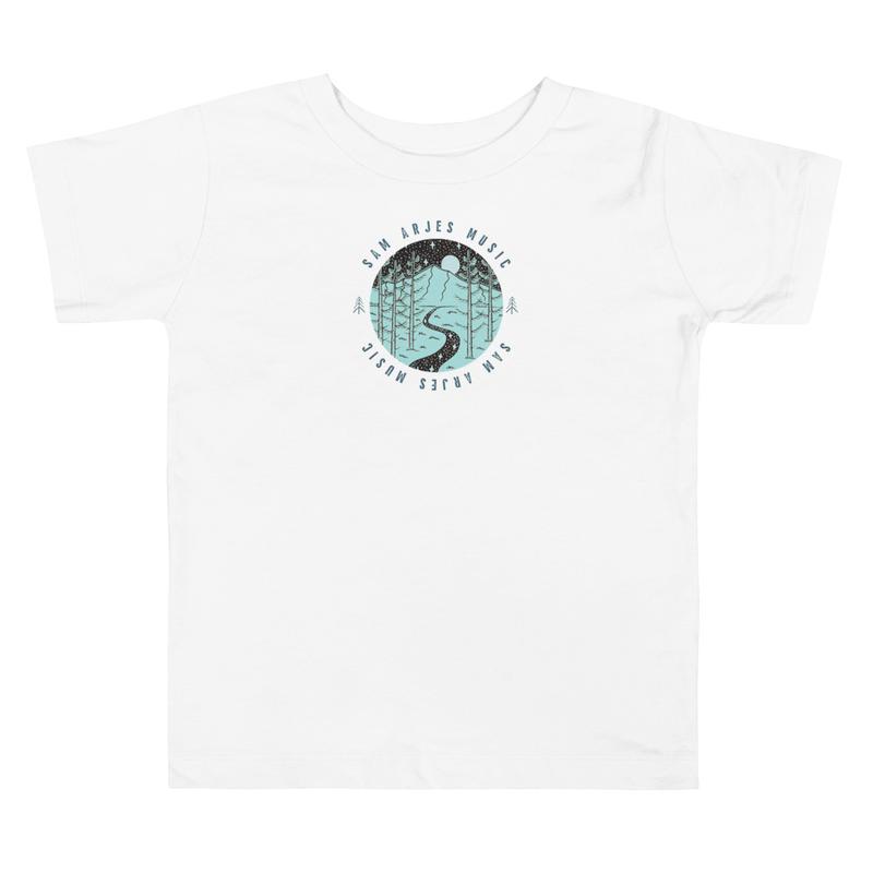 Sam Arjes Music Logo Toddler Short Sleeve Tee (Unisex, White)