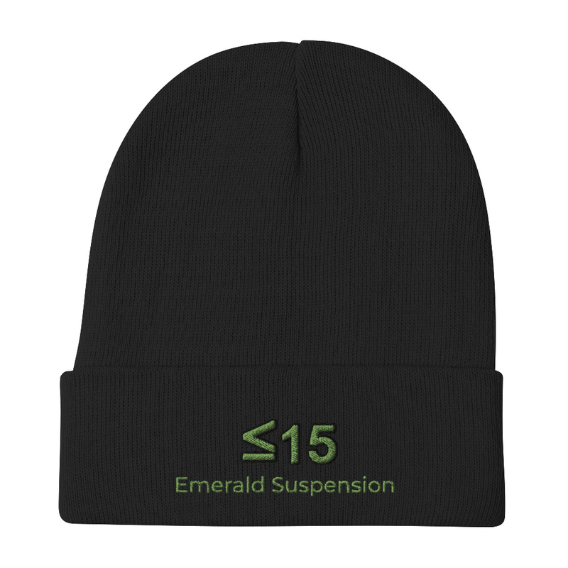 Knit beanie with ≤15 and Emerald Suspension embroidered