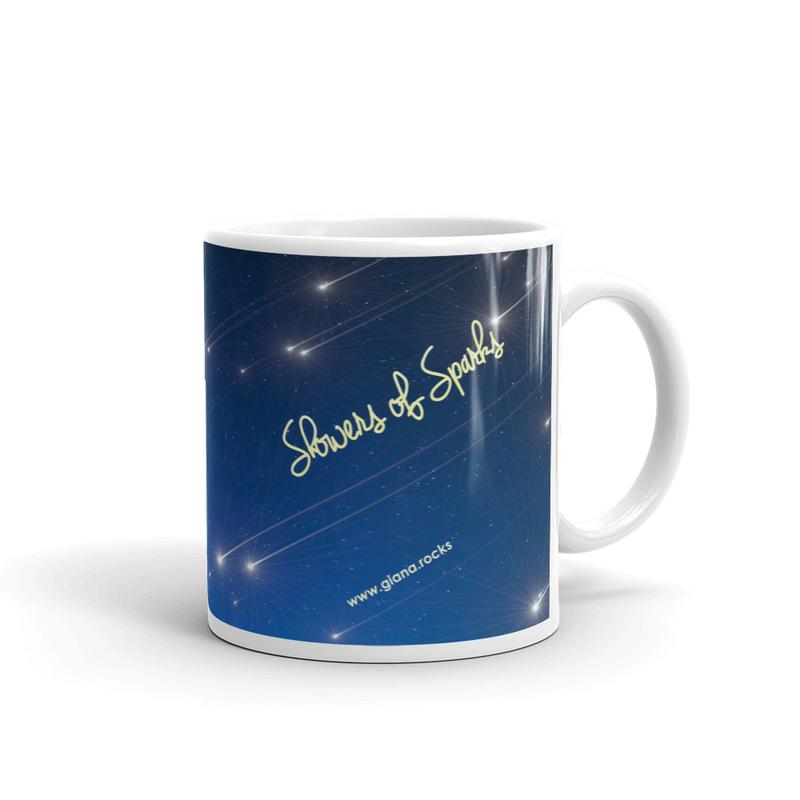 Showers Of Sparks White glossy mug