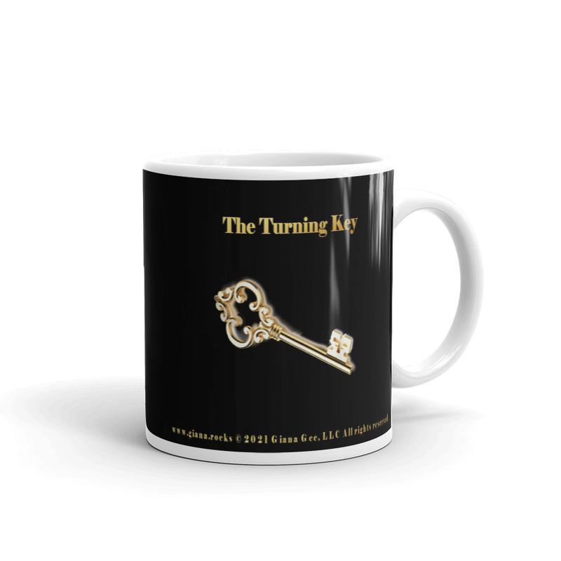 The Turning Key with Lyrics Black Glossy Mug