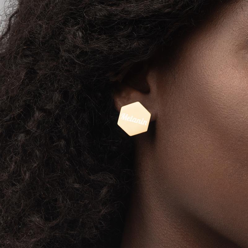 Melanin Sterling Silver Hexagon Stud Earrings