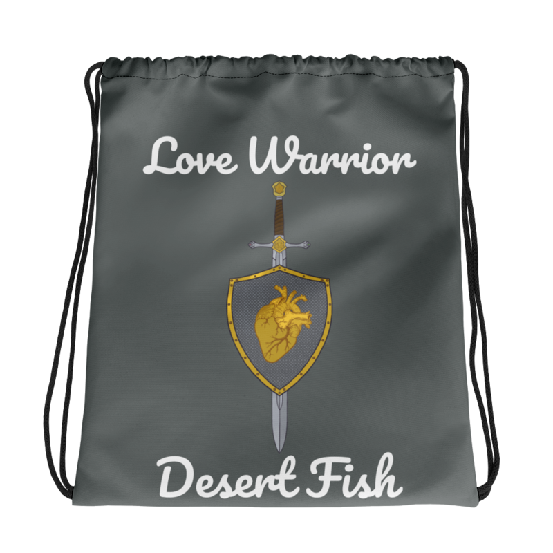 Love Warrior Drawstring Bag