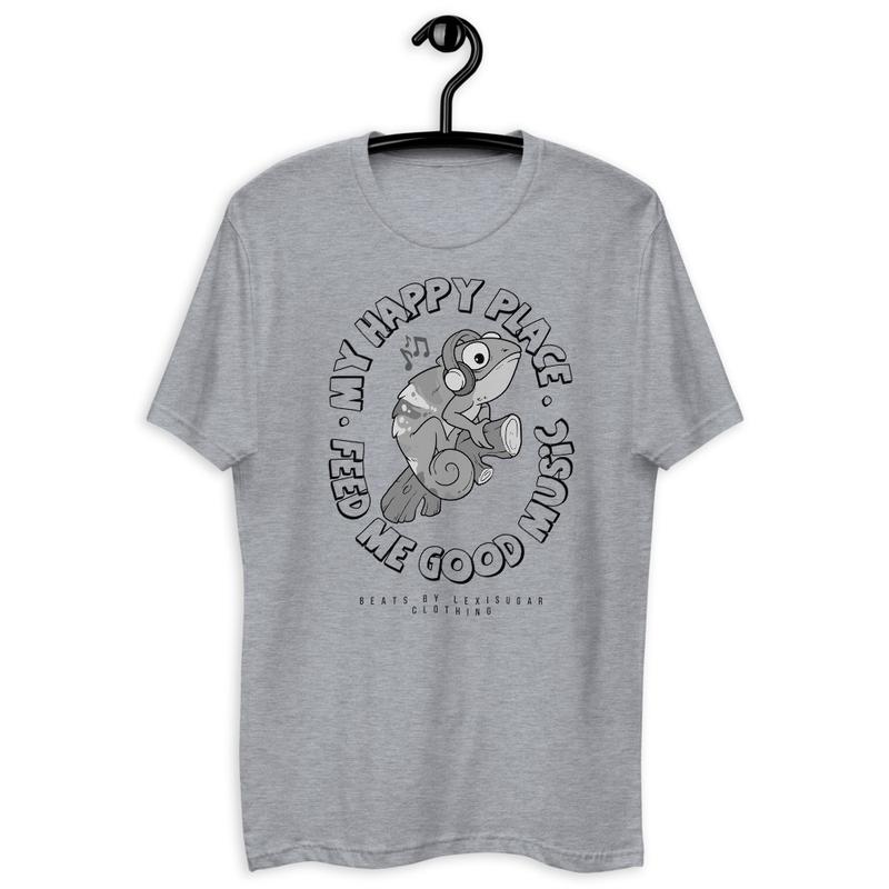 'My Happy Place' Short Sleeve Unisex T-shirt (White/Grey)