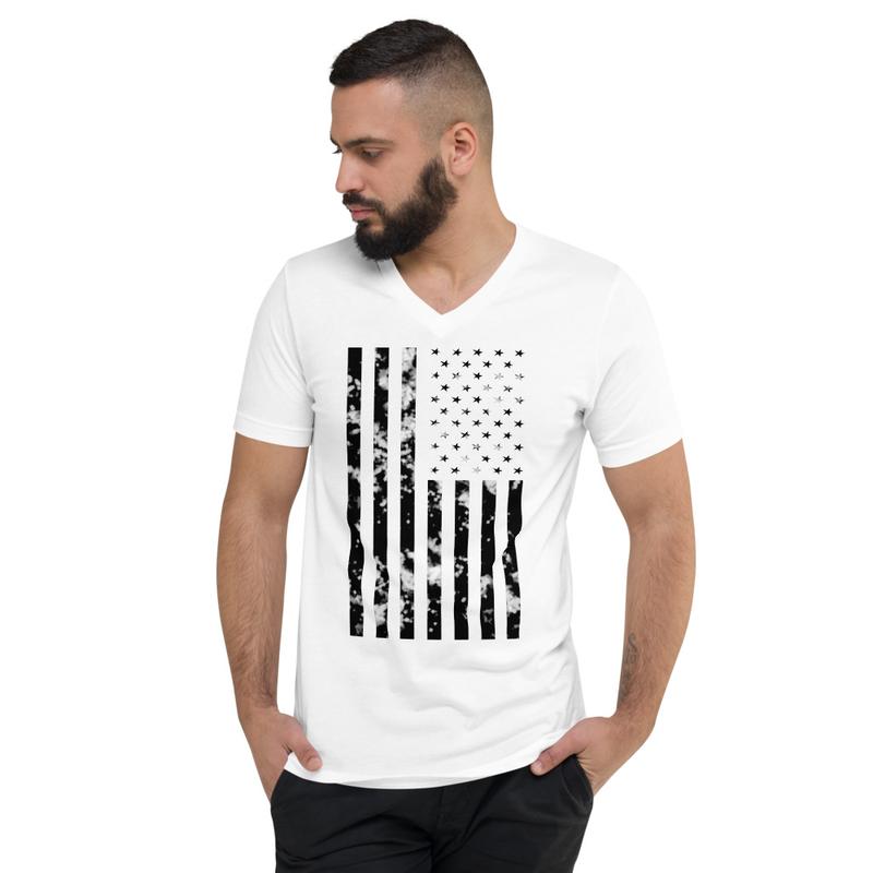 Monochrome American Flag (Unisex V-Neck)