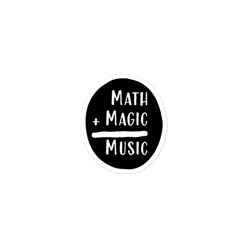 Math + Magic = Music Stickers in Black with No Border