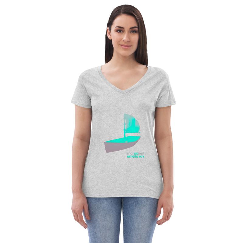 """Marooned"" Women's recycled v-neck t-shirt"