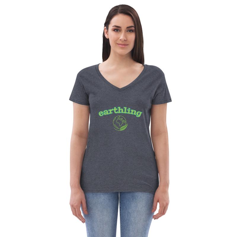 Women's recycled v-neck earthling t-shirt
