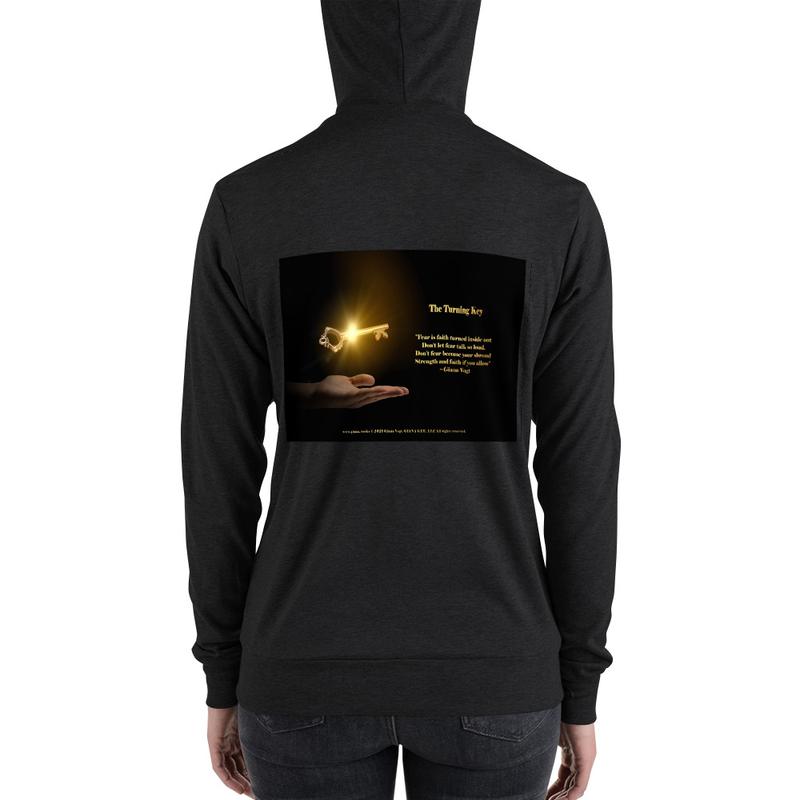 The Turning Key Gold on Black Unisex zip hoodie