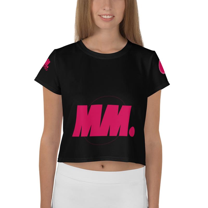 Mighty Morfin Women's All-Over Print Crop Tee Black
