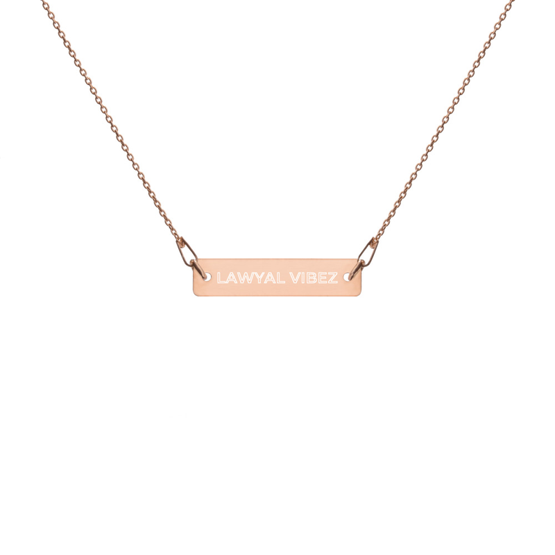 LAWYAL VIBEZ Engraved Silver Bar Chain Necklace