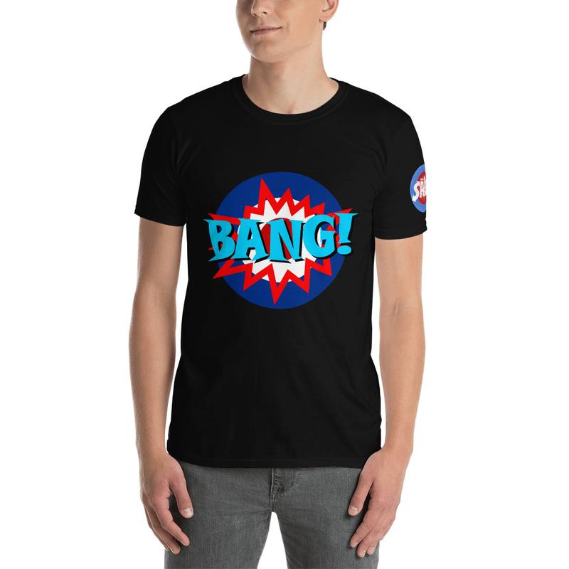 BANG! Unisex T-Shirt (Sails Logo on Sleeve, Black or White)