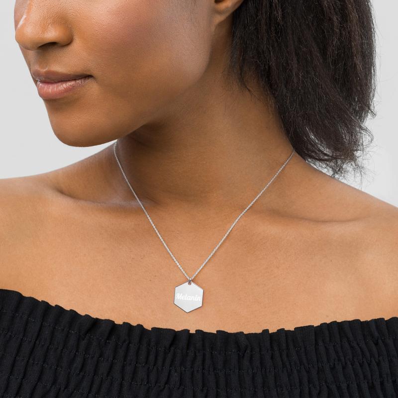 Melanin Engraved Hexagon Necklace