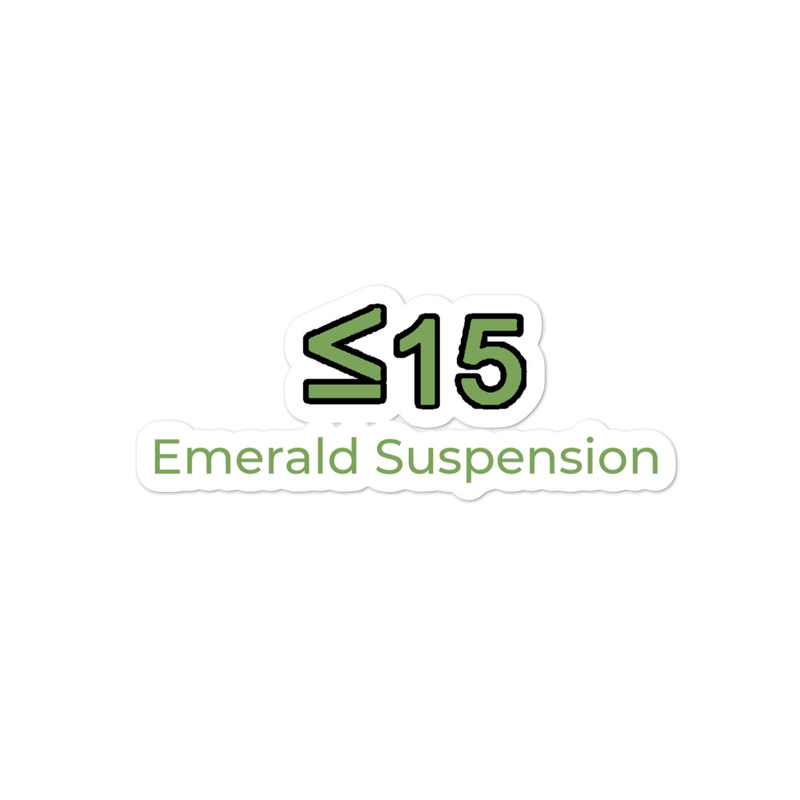 Stickers with <=15 and Emerald Suspension