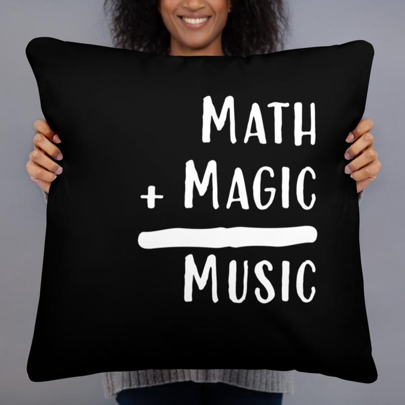 Math + Magic = Music Pillow in Black
