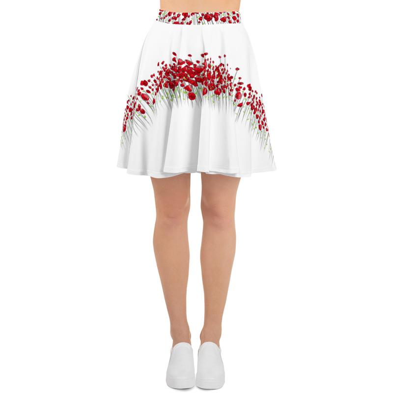 AHoney Heart Flowers Skater Skirt