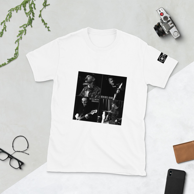 Ben Reel Band live in JJ Smyths - Short-Sleeve Unisex T-Shirt with B.Reel records logo on sleeve and back outside label.