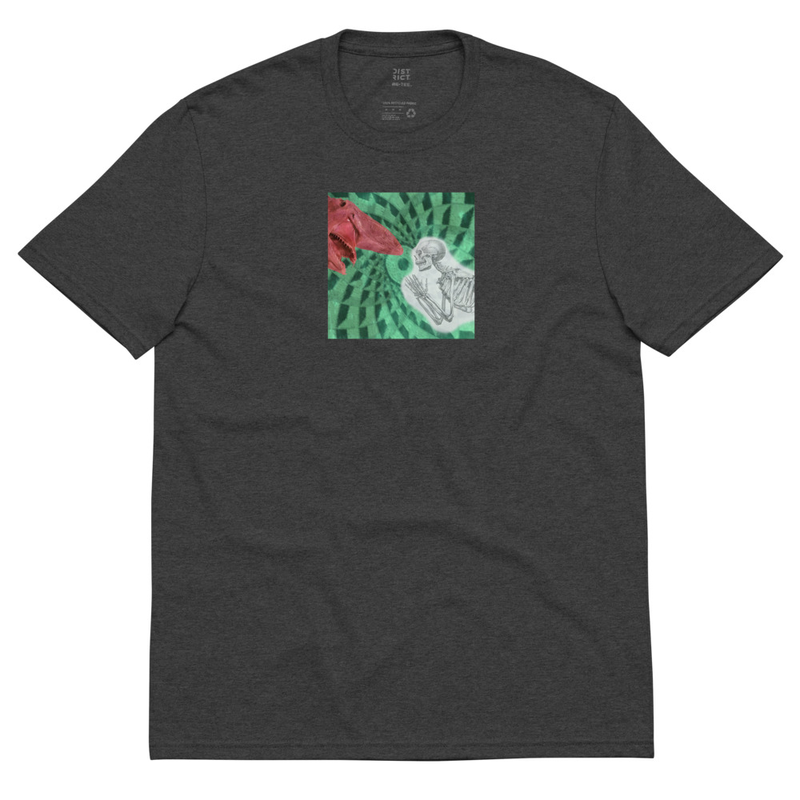 Recycled t-shirt with Shark/Skeleton on front and  Divination album cover on back