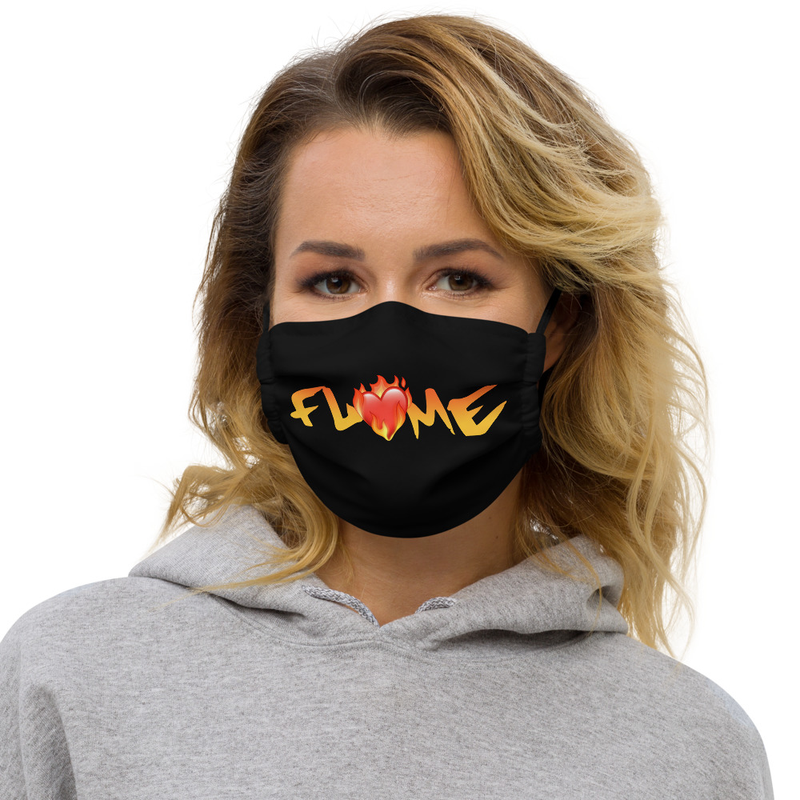 """""""Don't Go!"""" - Flame Text + Heart - Premium Washable Face Mask + Pocket For Surgical Mask"""