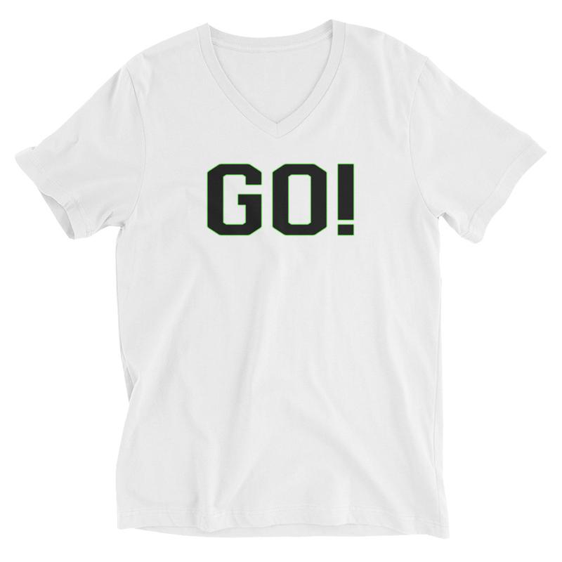 Go! Unisex Short Sleeve V-Neck T-Shirt