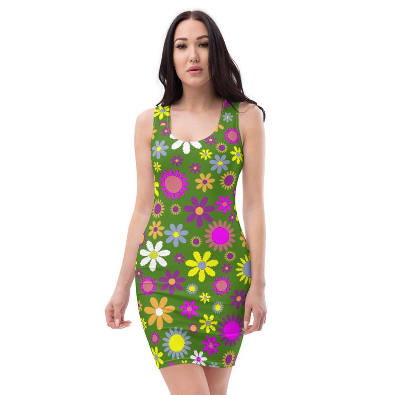 AHoney Green Flowers Sublimation Cut & Sew Dress