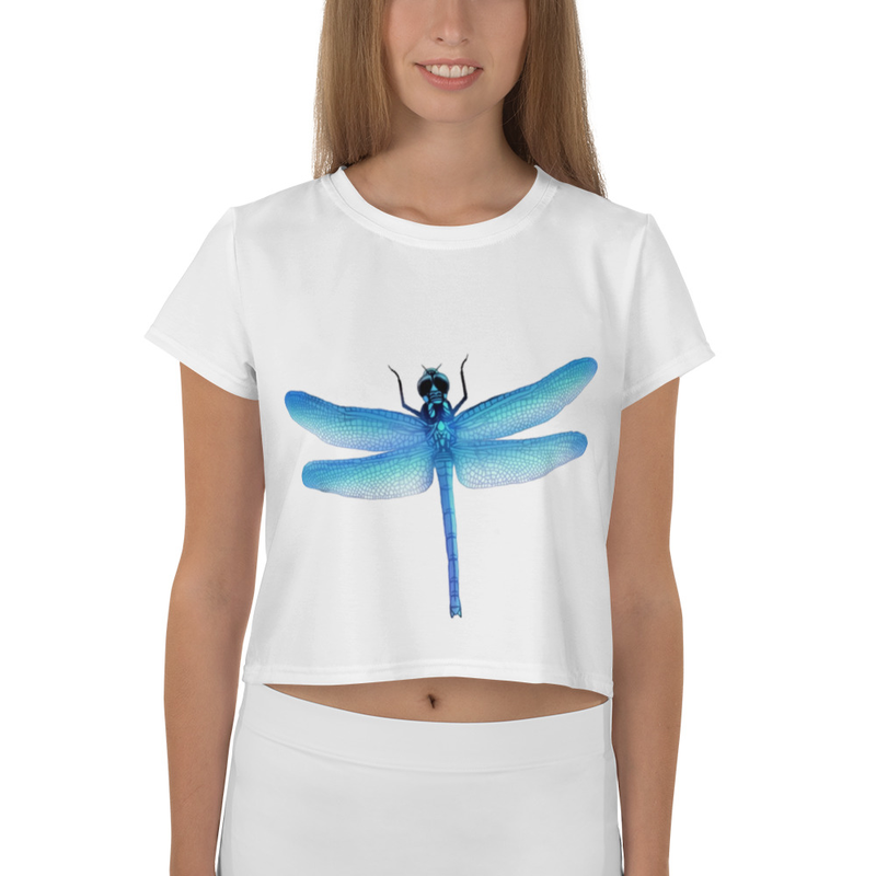 Blue DragonFly - All-Over Print Crop Tee