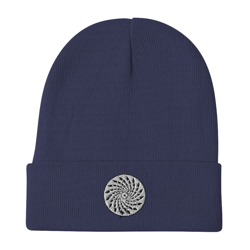 Beanie with embroidered mosaic