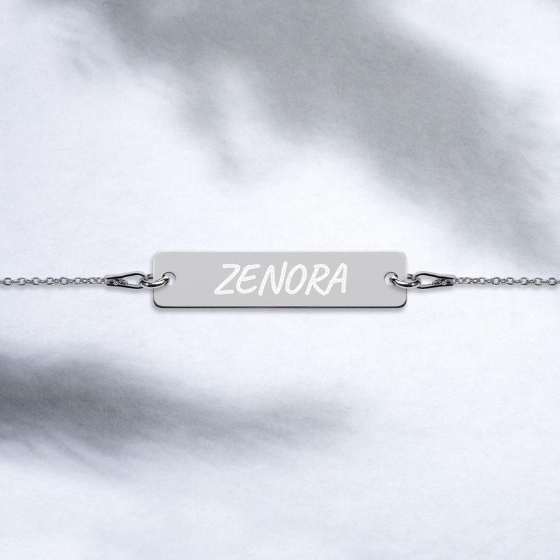 Zenora Engraved Silver Bar Chain Bracelet