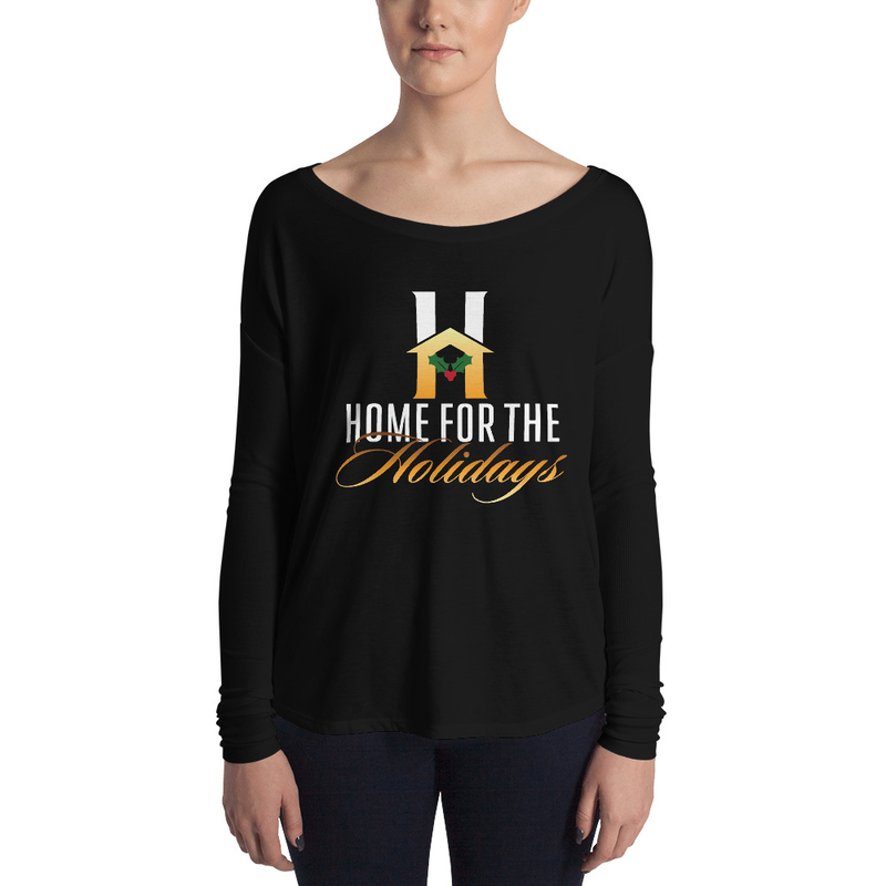 "Ladies' Long Sleeve Tee ""Home for the Holidays"""