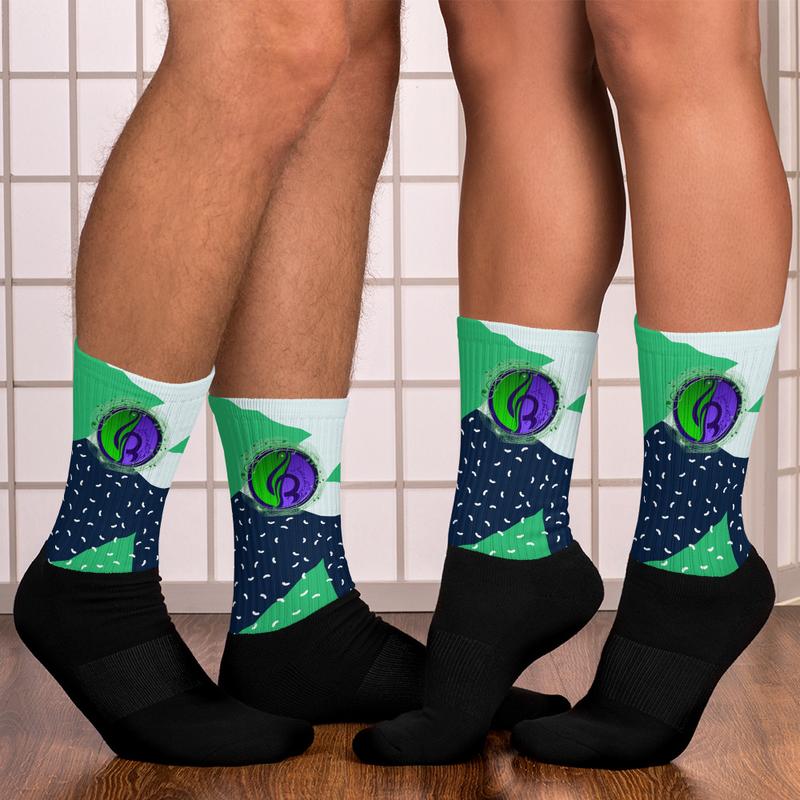 Green Abstract Logo Socks